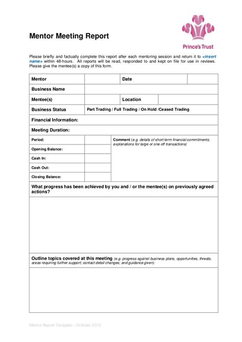 mentor contract template mentor meeting report template