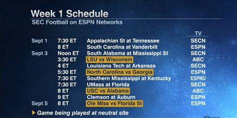 section 1 schedules sec releases kickoff times tv schedule for season s first