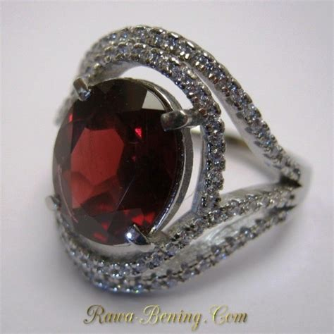 cincin wanita permata pyrope garnet asli silver 925