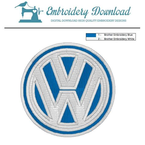 embroidery pattern logo volkswagen logo embroidery design for instant download