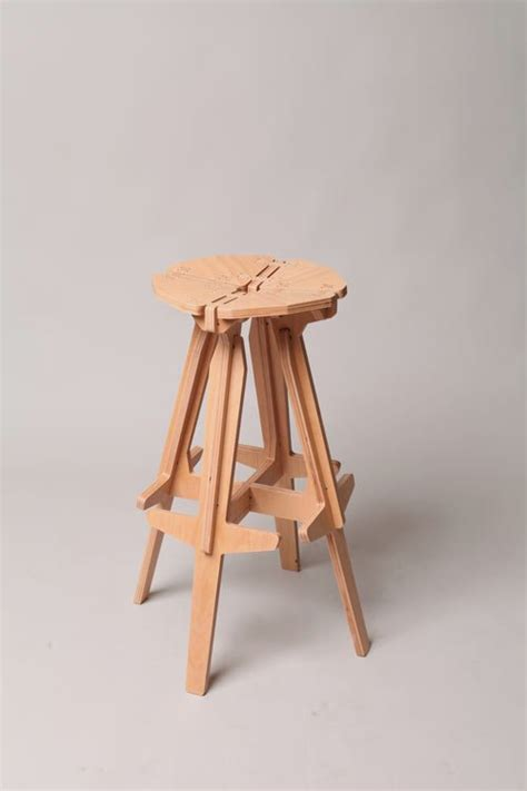 Stool In Pieces by Wooden Furniture That Constructed From Puzzle Like Pieces