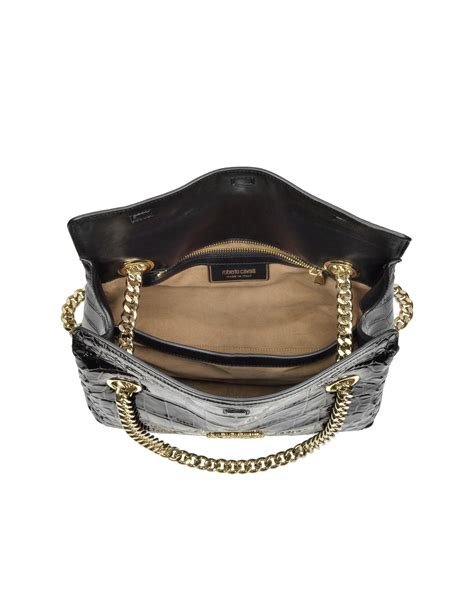 Roberto Cavallis Plain Patent Leather Clutch by Roberto Cavalli Black Croco Patent Leather Shoulder Bag In