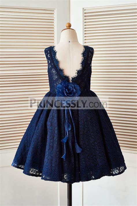 Blue Flower Back Dress Sml navy blue lace v back flower dress with handmade flower avivaly