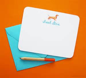 dachshund personalized note cards mospens studio