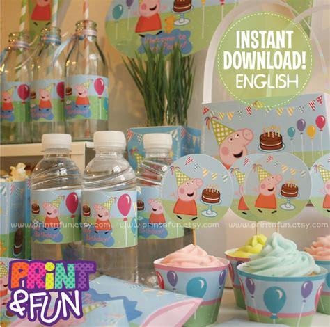 printable peppa pig party decorations peppa pig party printables english descarga inmediata