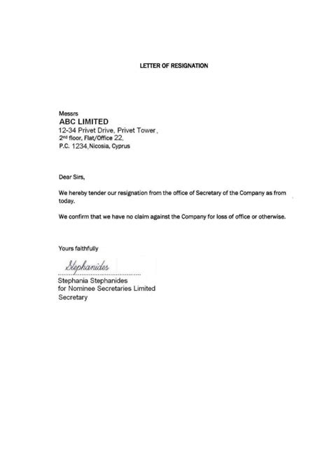 resignation letter template samples business letters