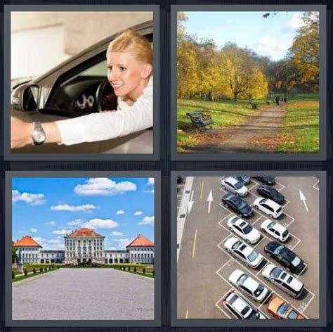4 Letter Words Drive 4 pics 1 word answer for drive path road lot heavy