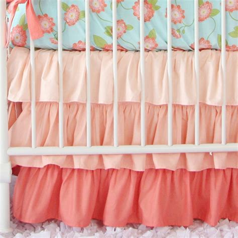 coral bed skirt coral gradient ruffle crib skirt crib skirts and babies