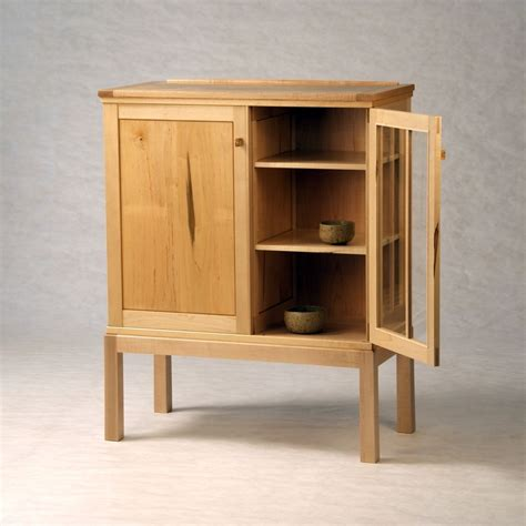 Hand Made Maple On Maple Half Glass Liquor Cabinet by Down