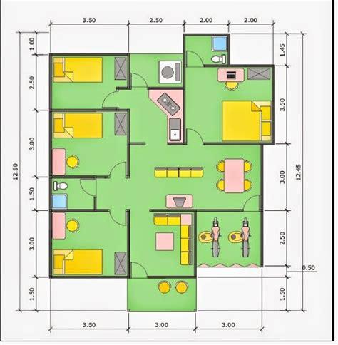 sket desain rumah minimalis type 36 dengan 4 kamar yadi
