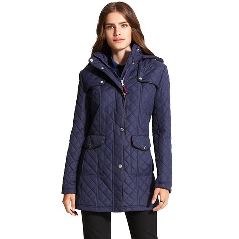 hilfiger hooded quilted jacket in blue navy lyst