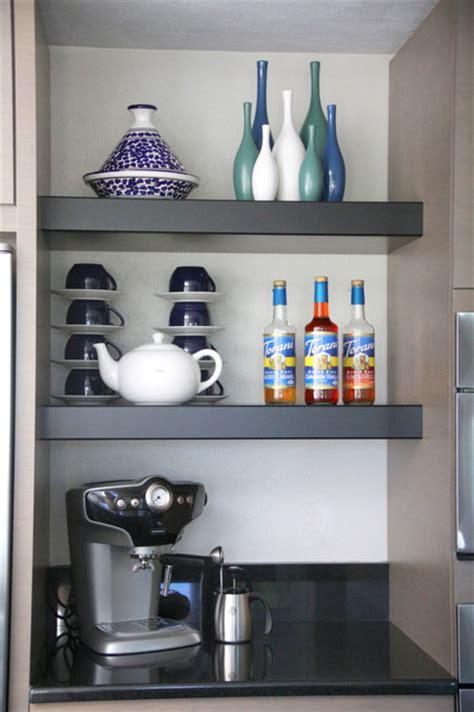 kitchen open shelves  coffee bar modern kitchen