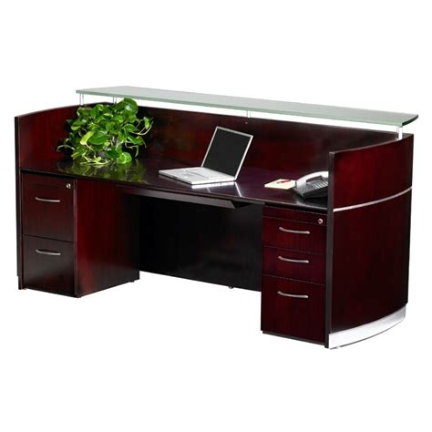 Glass Reception Desks Mayline Wood Veneer Napoli Mahogany Reception Desk W Frosted Glass Counter Reception Desks
