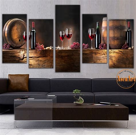 wall decor for home bar 5 panel wall art fruit grape red wine glass picture art