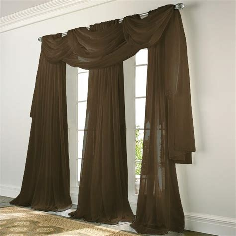 chocolate sheer curtains elegance voile chocolate brown sheer curtain bedbathhome com