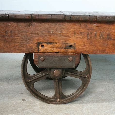 antique vintage luggage cart coffee table circa 1920 with