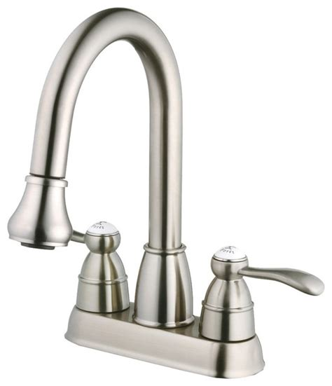 One Hole Kitchen Faucet With Sprayer belle foret n600 01 ss pull down spray laundry faucet in