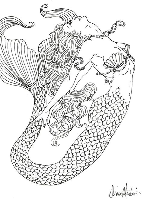 adult mermaid with long hair by lian2011 coloring pages realistic mermaid coloring pages coloring pages