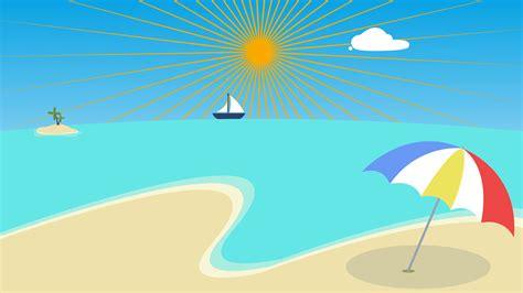 cartoon boat on the sea colorful cartoon beach background palm beach animation