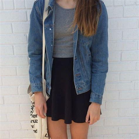 Blazer Black Ddark Style Ks 29 black skirt grey tank or crop top or denim jacket or chambray button uniforme