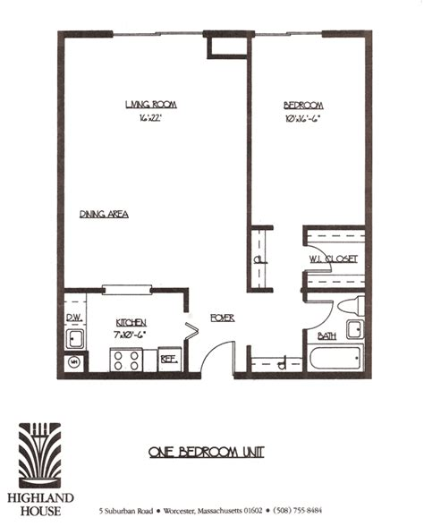 1 bedroom apartments floor plan highland house apartments worcester ma 1 and 2 bedroom