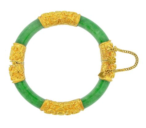Queens Diamond and Jewelry Jade Bangle with 24K yellow Gold   Handmade 24K
