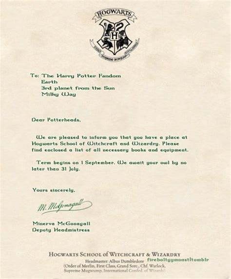 Acceptance Letter Into Hogwarts Hogwarts Acceptance Letter Harry Potter Disney Kid And Cas