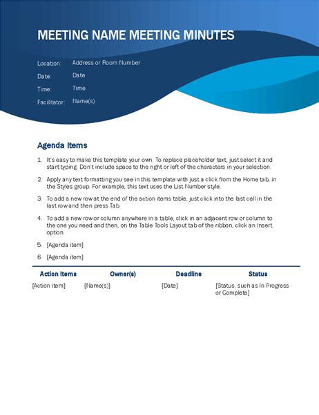 Meeting Minutes Microsoft Meeting Minutes Template