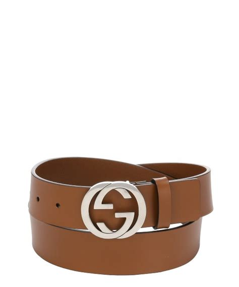 gucci light brown leather pin gg logo buckle belt in