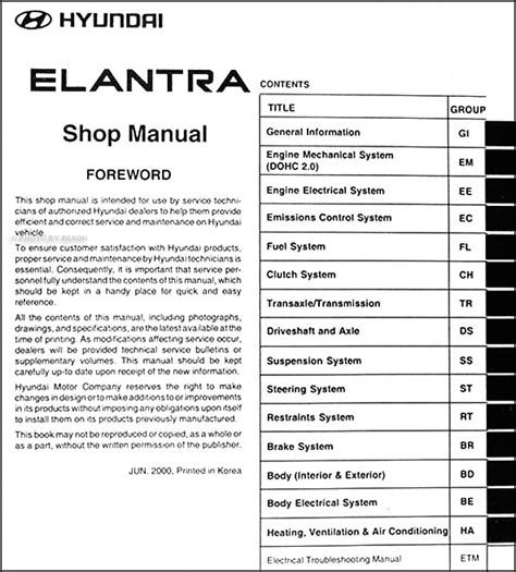 vehicle repair manual 2012 hyundai elantra interior lighting 2001 hyundai elantra repair shop manual original