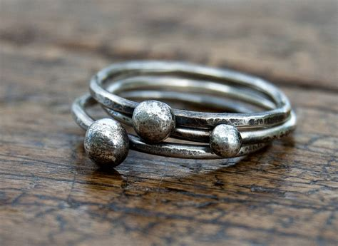 Handmade Stacking Rings - set of three handmade organic stacking rings by alison