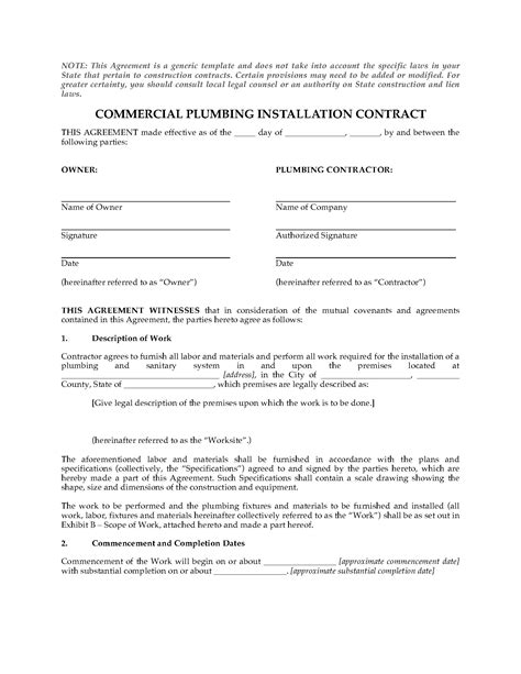 Commercial Plumbing Installation Contract   Legal Forms