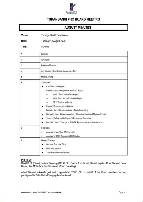 minutes for meetings template 6 minutes format bookletemplate org