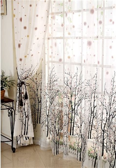 Buy Elleweideco Modern Tree Branch White Sheer With Brown