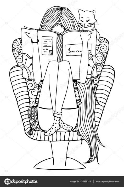 Wektor ilustracja zentangl dziewczyna siedzi w fotelu z