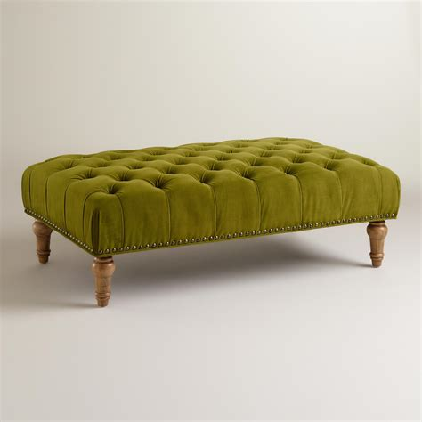 tuffed ottoman apple green marcelle tufted ottoman world market