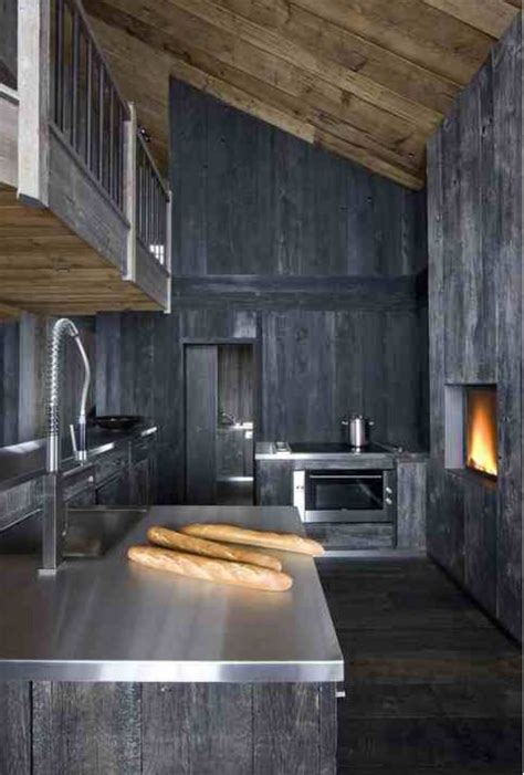 kitchens interiors grey stained timber modern rustic chalet kitchen
