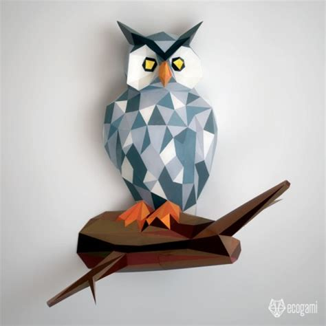 Owl Papercraft - make your own papercraft owl on its branch with our pdf