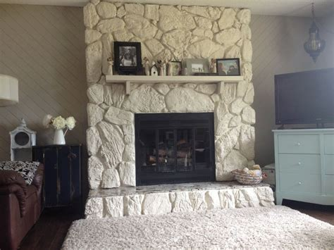 painted rock fireplace improvement makes the room