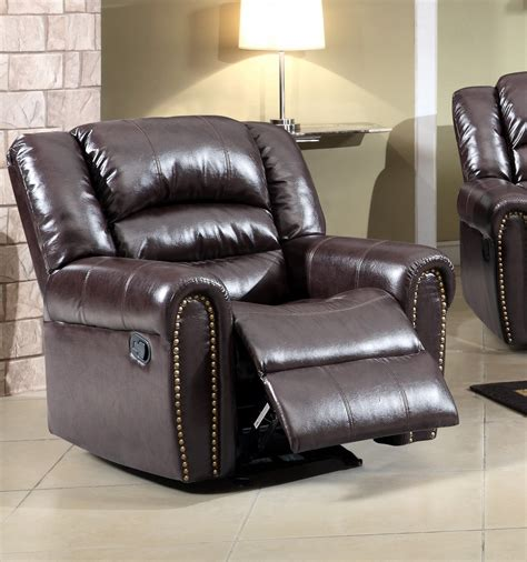 leather reclining sofa with nailhead trim 684 brown leather rocker reclining chair with nailhead trim