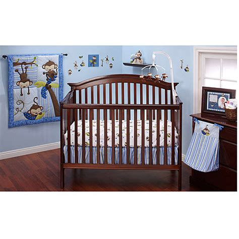 Monkey Crib Bedding Boy Bedding By Nojo 3 Monkeys 10pc Nursery In A Bag Crib Bedding Set Blue Walmart