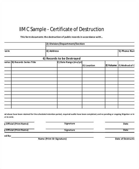 certificate of destruction templates 9 free pdf format