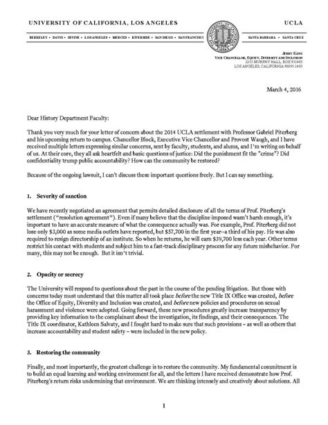 Cover Letter Ucla Ucla Makes Excuses About Sexual Harassment Guest Post Part Ii The Professor Is In
