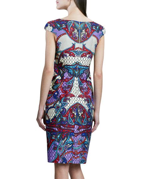 Printed Sleeve Sheath Dress david meister printed cap sleeve sheath dress