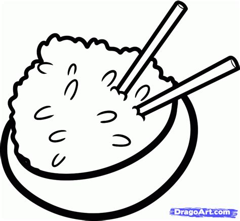 how to draw rice rice bowl step by step food pop