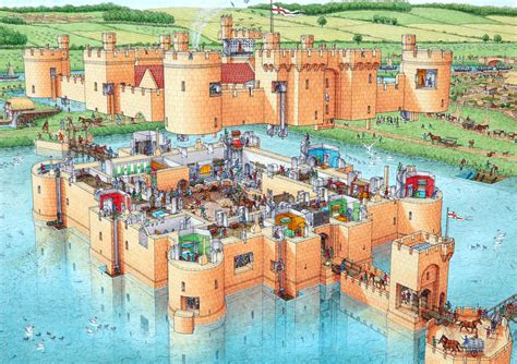 castle sections stephen biesty illustrator cutaway panoramas bodiam