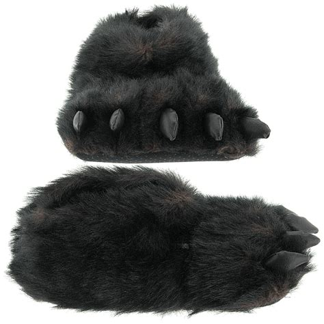 paw slippers fuzzy black paw slippers for and