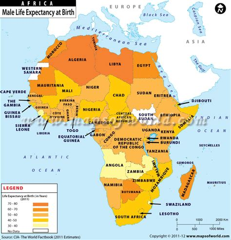 Map of Male Life Expectancy at Birth in African Countries