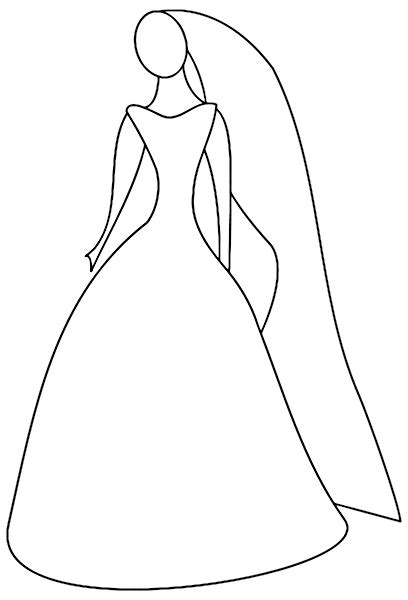 bridesmaid dress coloring page simple outline of women in her wedding dress