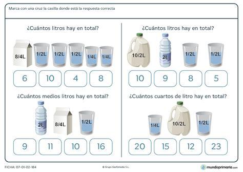 libro litros y litros de ficha de sumar litros para ni 241 os de primaria mundo primaria